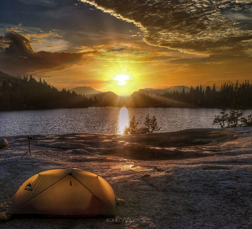 Cathedral Lake Campsite Sunset rMv 2